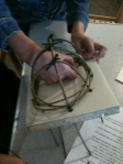 Step 2: Weaving the shape and securing with twine