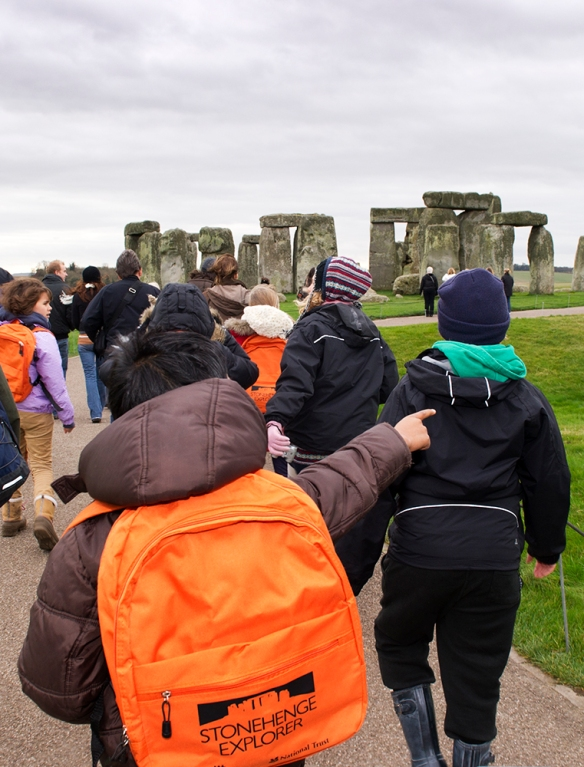 A school group getting closer to the stones